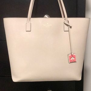 Cream and coral accent kate spade tote
